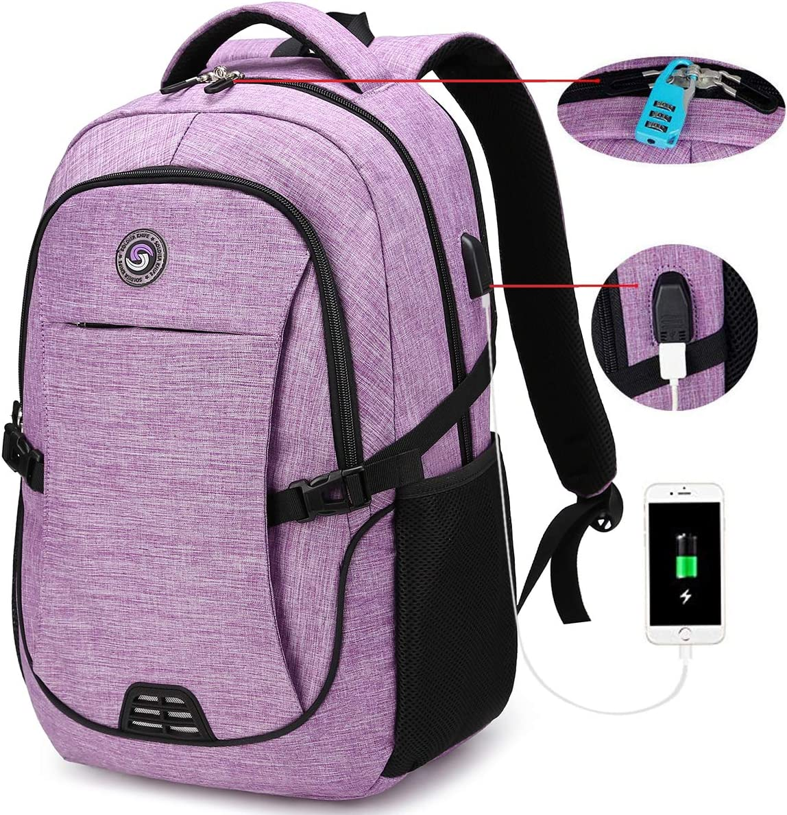 SOLDIERKNIFE Durable Waterproof Anti Theft Laptop Backpack Travel Backpacks Bookbag with usb Charging Port for Women & Men School College Students Backpack Fits 15.6 Inch Laptop Purple