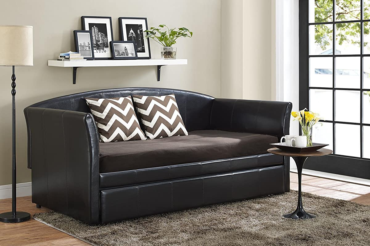 DHP Halle Upholstered Daybed and Trundle, Simple Design, Twin Size, Brown Faux Leather