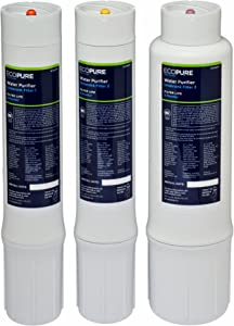 EcoPure Purifier Under Sink Replacement Water Set (ECOWPF)   NSF Certified   Fits ECOP40 System   6-Month Filter Life, White