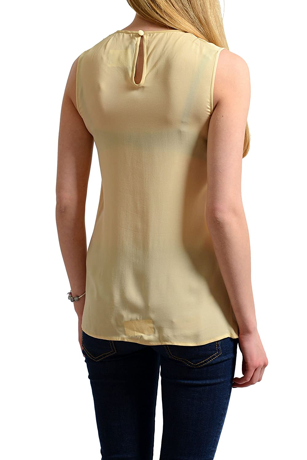 Dsquared2 100% Silk Nude Beige Women's Sleeveless Blouse Top US S IT 40