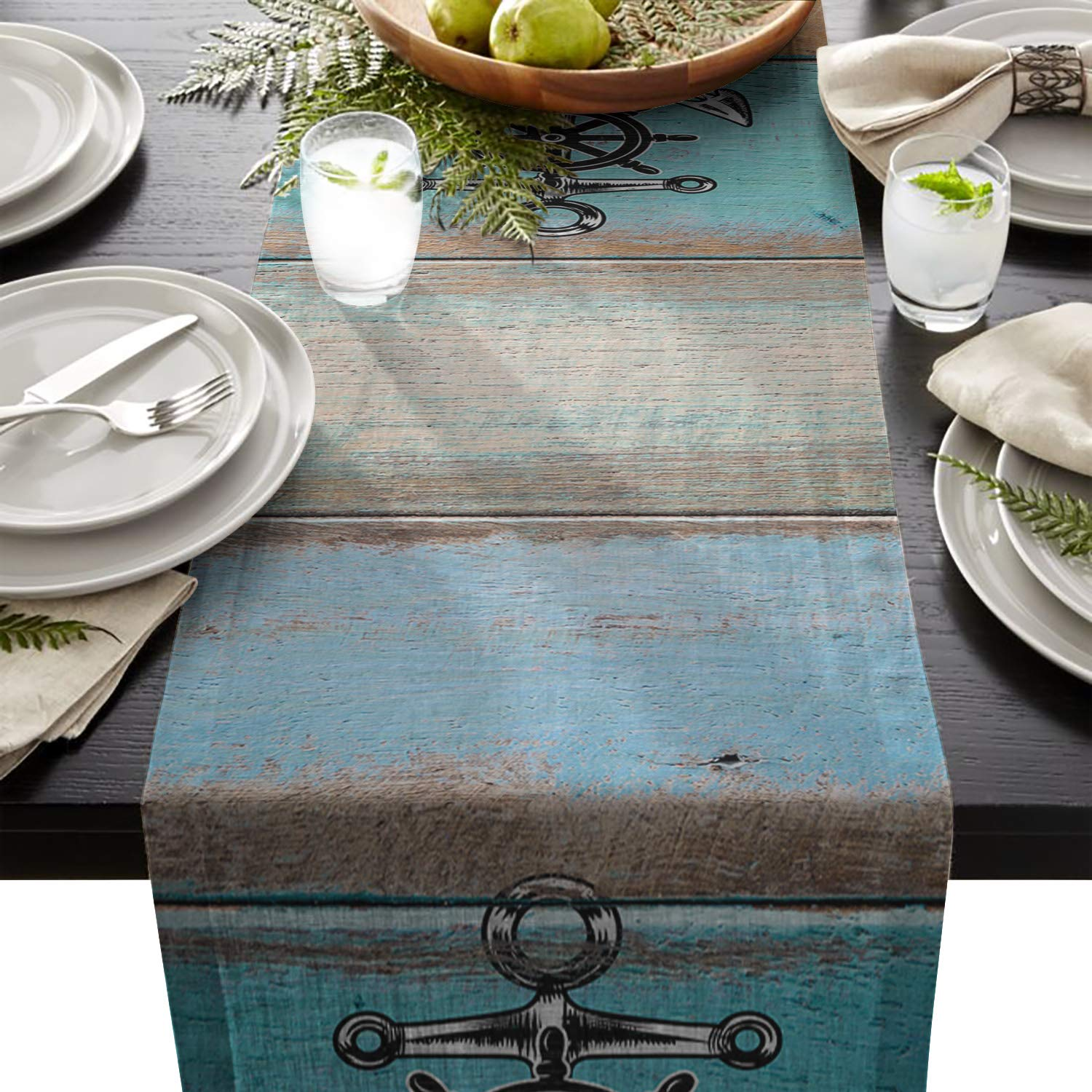 FAMILYDECOR Linen Burlap Table Runner Dresser Scarves, Nautical Anchor and Blue Barn Wood Kitchen Table Runners for Dinner Holiday Parties, Wedding, Events, Decor - 13 x 70 Inch