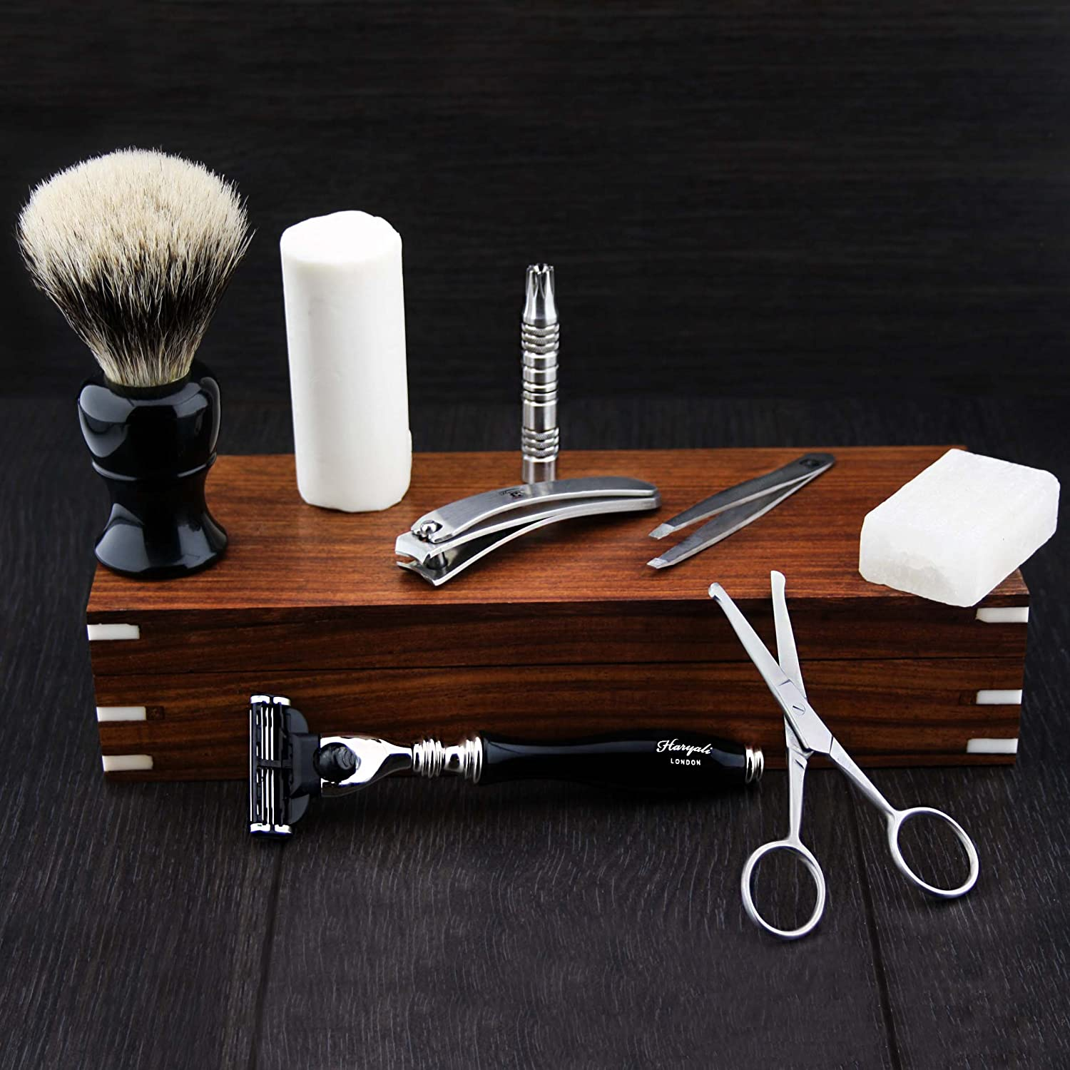 Stunning 9 Pcs Haryali London Made Men's Shaving/Grooming Kit/Set (Gillette Mach 3) Razor Hand Assembled Classic Silver tip Badger Hair Brush,Shaving Soap, Alum Block, Nose trimmer, Nose Scissor, Tweezers, Nail Cutter In Antique Rose Wood Box .Perfect Comb