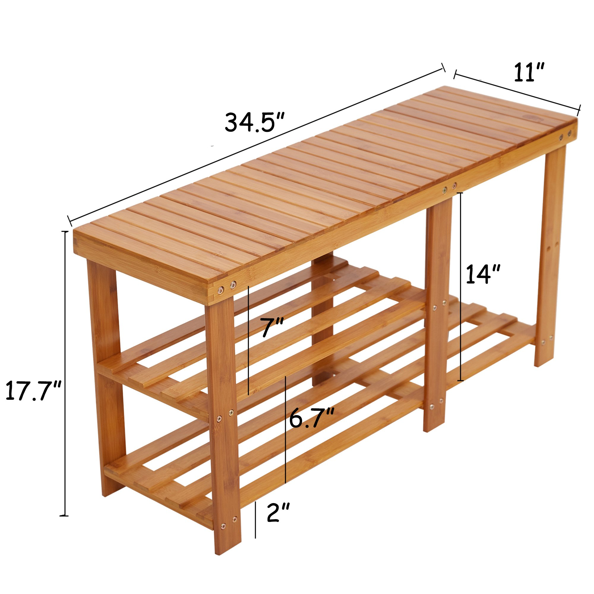 Lucky Tree 2-Tire Freestanding Shelves Boot Shoe Storage Bamboo Bench for Entryway Front Door Shoes Organizer Rack Seat by Lucky tree (Image #4)