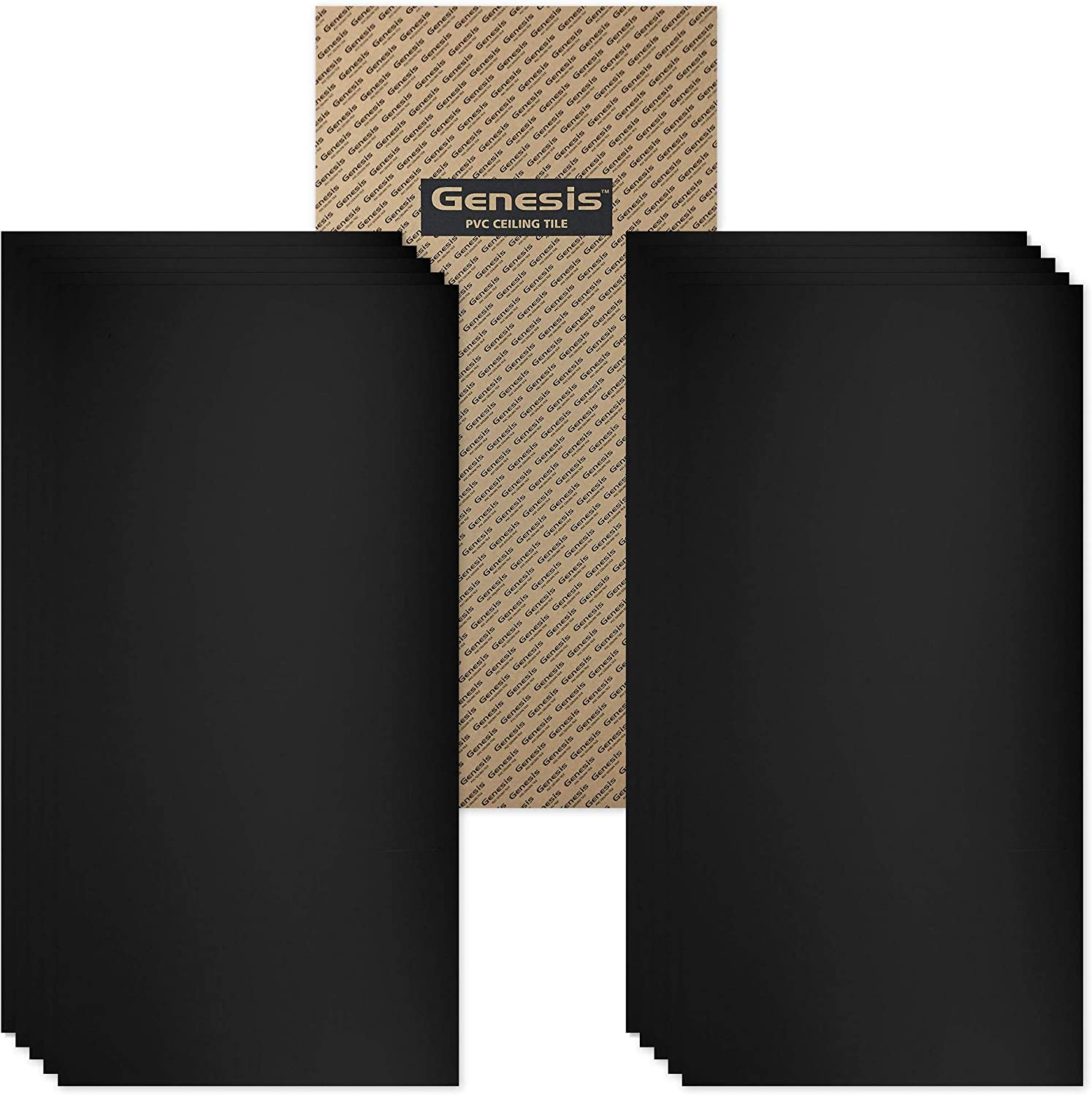 Washable and Fire-Rated Genesis Smooth Pro Black Ceiling Tiles Waterproof Easy Drop-in Installation 6 x 6 Sample High-Grade PVC to Prevent Breakage