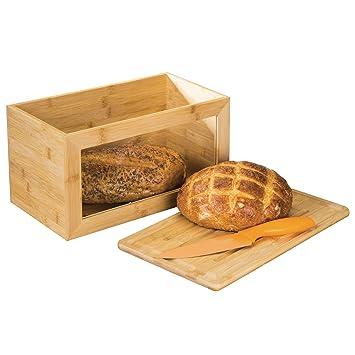 mDesign Panera de madera con práctica ventana – Caja de pan con tabla de cortar como