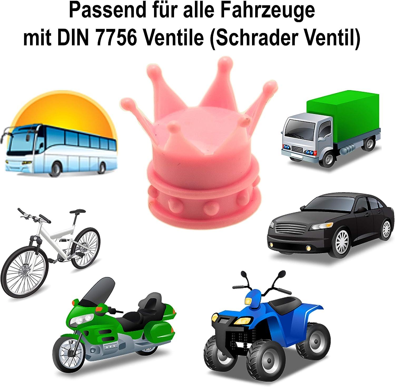 Moto FLYBY Kronen Lot de 4 Bouchons de Valve en PVC de qualit/é sup/érieure pour Voiture Camion v/élo