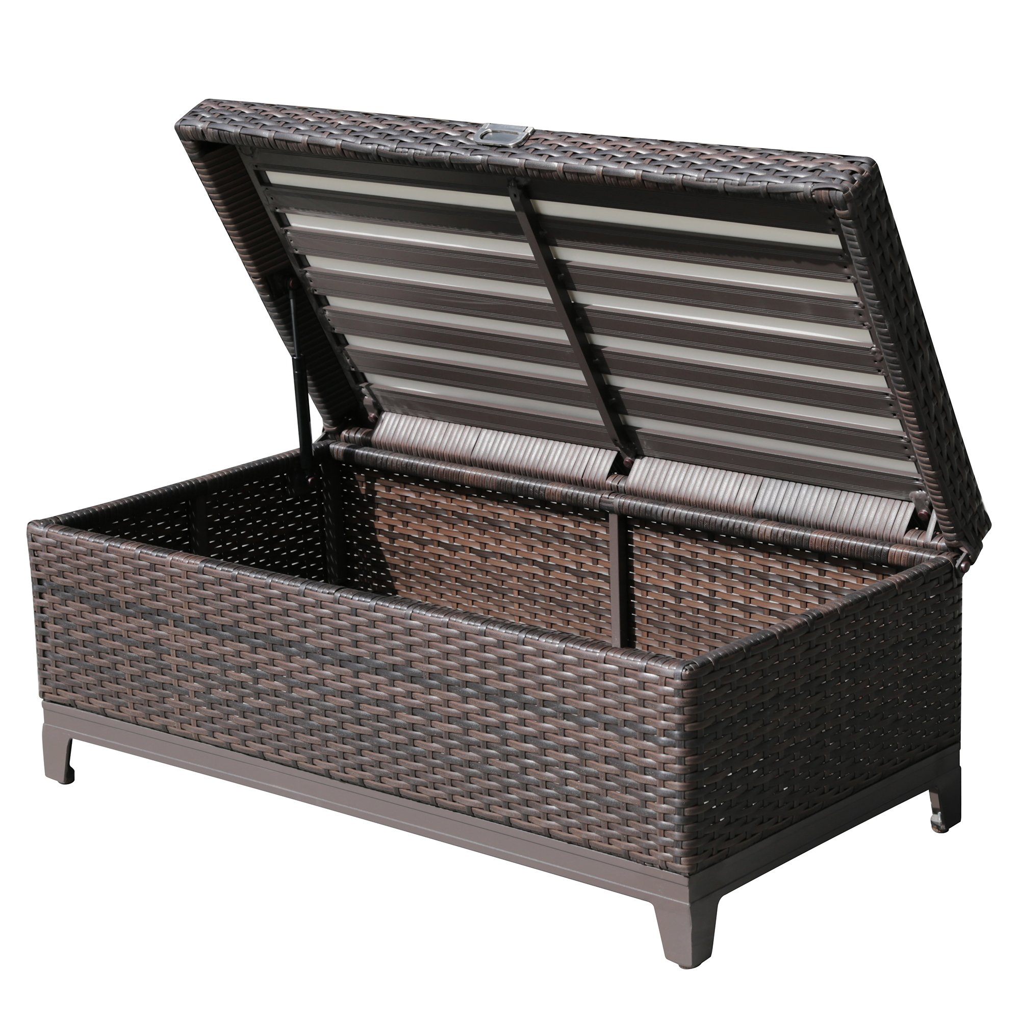 PATIOROMA Outdoor Patio Aluminum Frame Wicker Cushion Storage Ottoman Bench with Seat Cushion, Espresso Brown by PATIOROMA