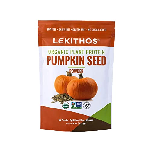 Lekithos Organic Pumpkin Seed Protein – 8 oz – USDA Certified Organic, Non-GMO Project Verified, No Added Sugars, Promotes Muscle Recovery – Certified Vegan – Gluten Free