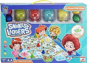 Giant Snakes and Ladders Board Games | Jumbo Family Traditional Indoor Outdoor Yard Garden Games for Kids 3+ | Mat with 4 Press Dice Auto Roller Boggle | 130x95x0.15cm | لعبة اطفال العائلة الممتعة
