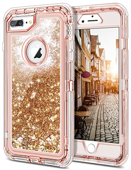 low priced 55bb0 471da JAKPAK Case for iPhone 8 Plus Case for Girls Women Glitter Bling Sparkle  Cover for iPhone 8 Plus Shockproof Heavy Duty Protective Shell with Hard PC  ...