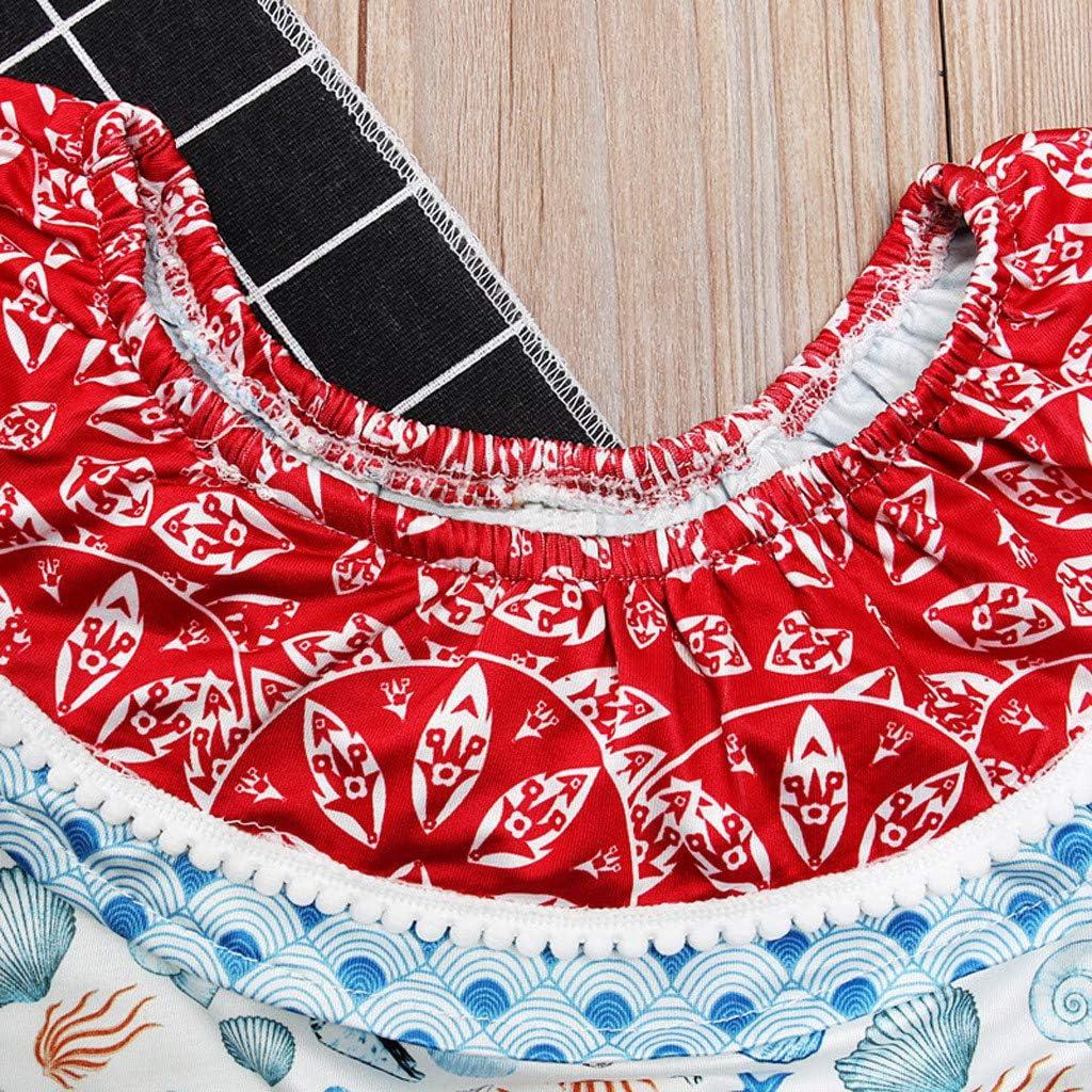 Cuekondy Toddler Baby Girls Kids Off Shoulder Shell Print Ruffled Swimsuit Swimwear Bathing Suit One Piece