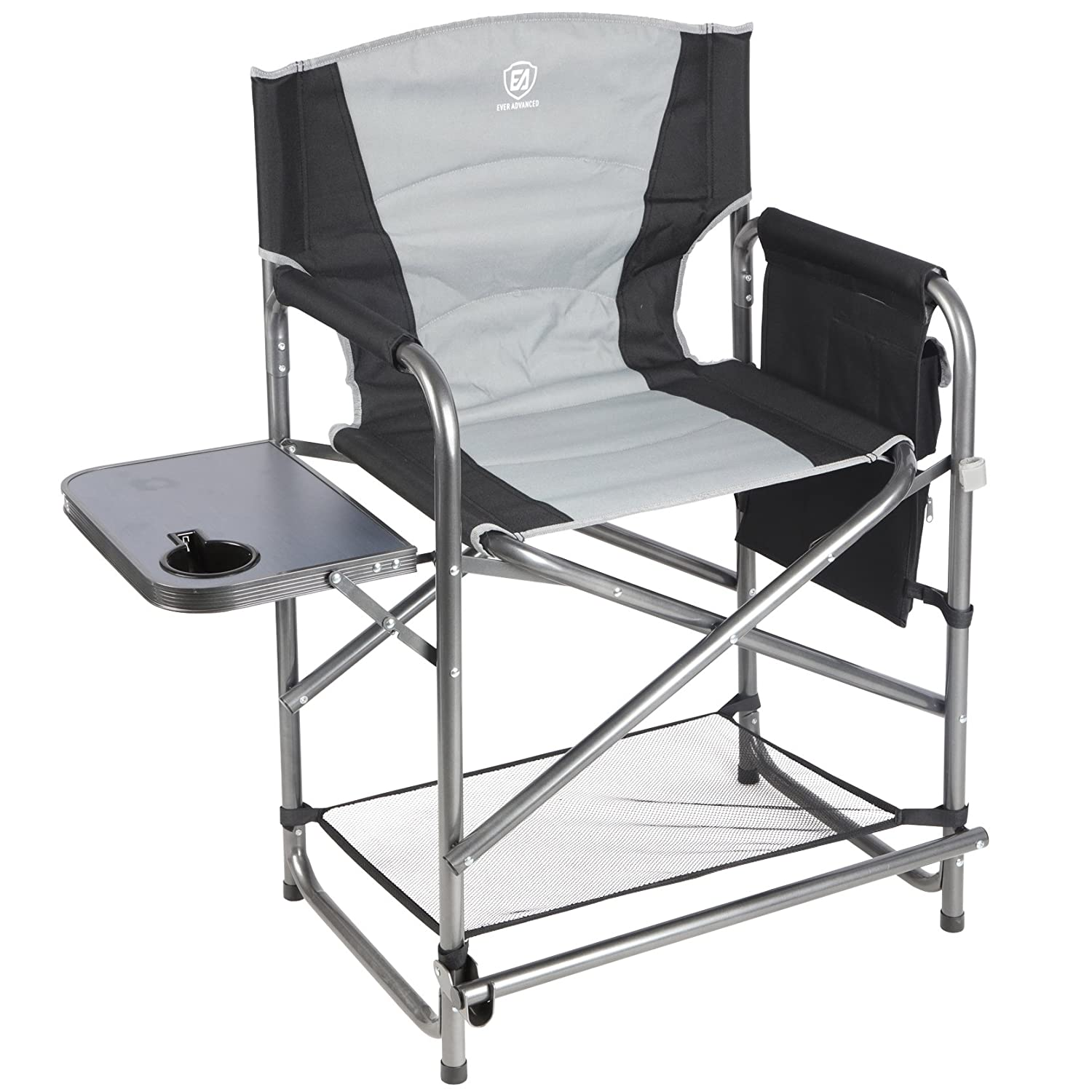 EVER ADVANCED Full Back Aluminum Folding Directors Chair with Side Table and Storage Pouch Heavy Duty 300LBS HENG FENG