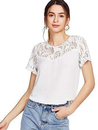 3bb4b40c74680 Romwe Women s Cute Summer Tshirt Elegant Floral Lace Short Sleeves Blouse  Top White S