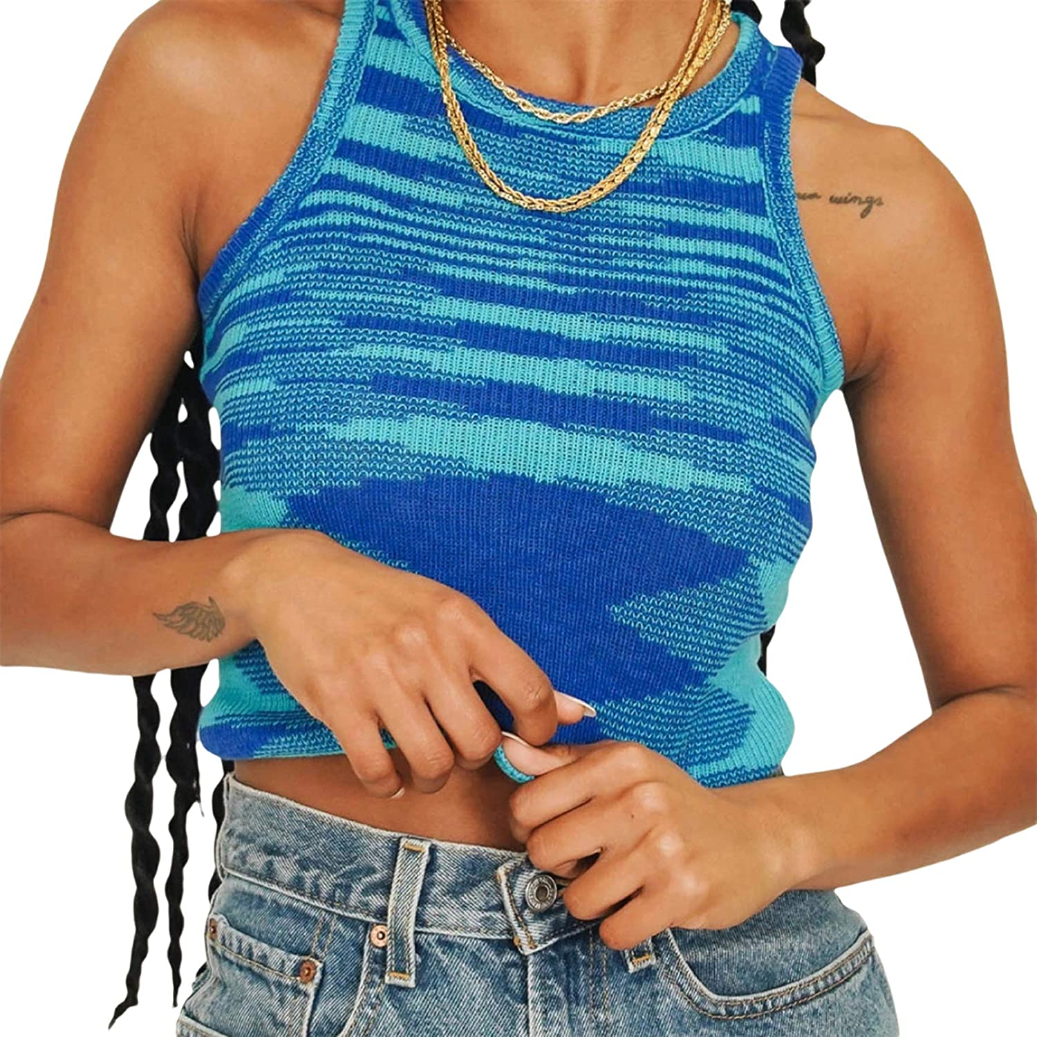 New Womens Stretch Sleeveless Ribbed Knitted Cropped Short Vest Ladies Top C