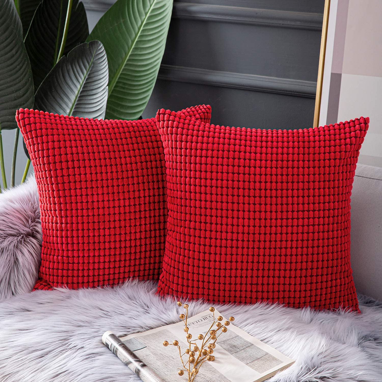 Ashler Set of 2 Soft Red Corduroy Corn Stripped Both Sides Throw Pillow Cushion Cover 18 x 18 inch 45 x 45 cm