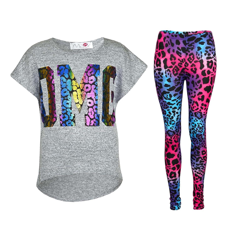 Kids Girls OMG Print T Shirt Top & Wet Look Leopard Legging Outfit Set 7-13 Yrs