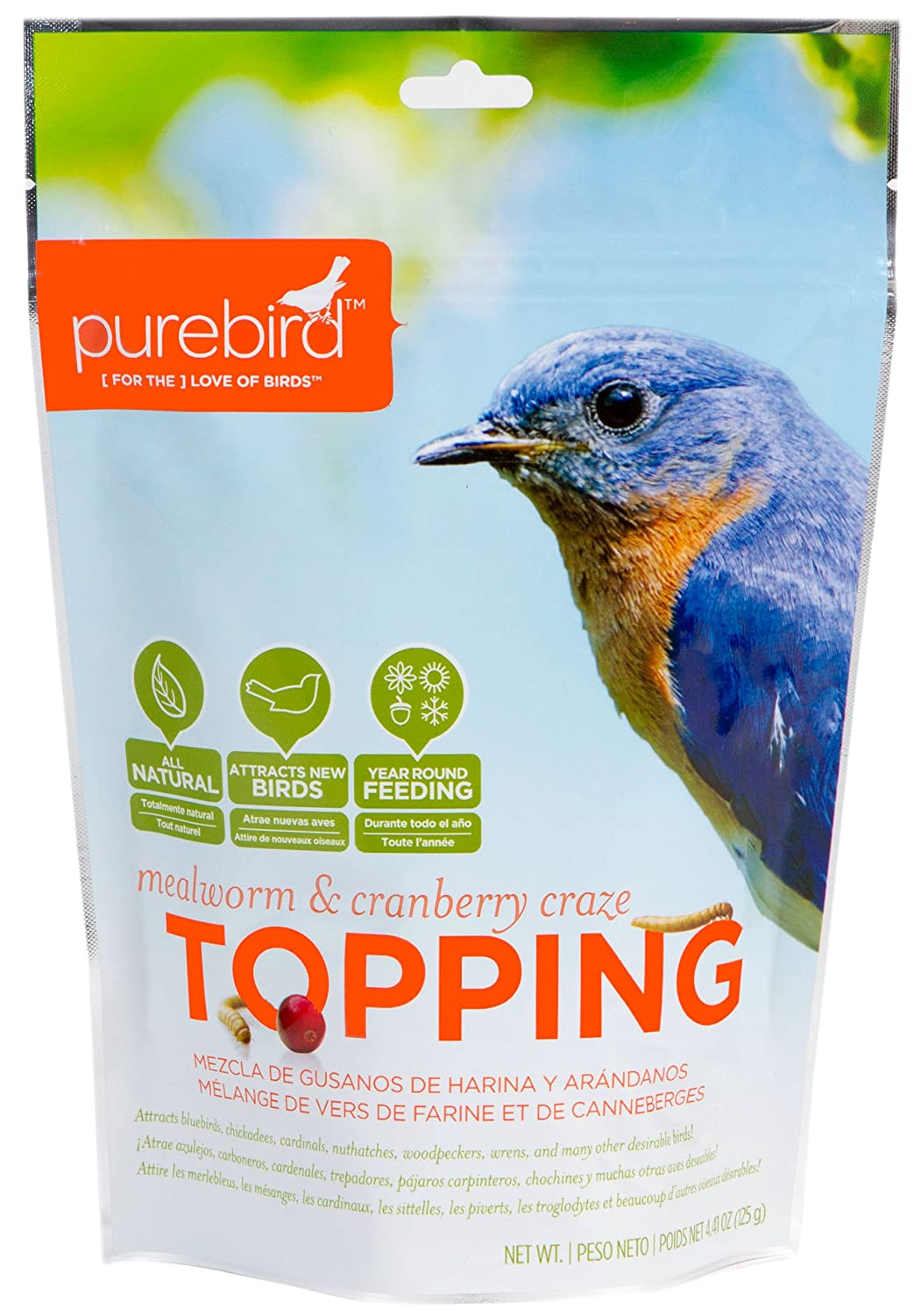 PureBird Mealworm and Cranberry Craze Topping for Wild Birds, 4.41-Ounce TPG-0005