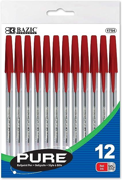 BAZIC Pure Rojo Stick Pen (12/Pack): Amazon.es: Oficina y papelería