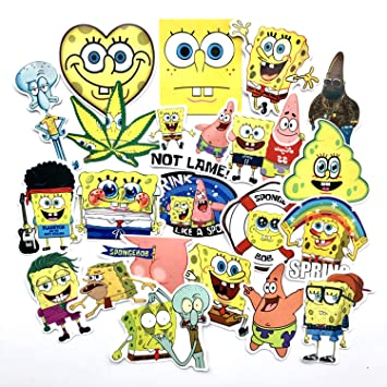 22 Pcs Cartoon Anime Spongebob Waterproof Stickers for Laptop Stickers Motorcycle Bicycle Skateboard Luggage Decal Graffiti Patches Stickers for ...