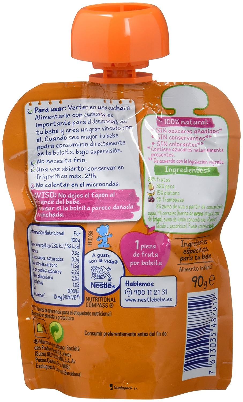 Nestlé Naturnes - Bolsita de Pera, Frambuesa y Cereales - A Partir de 8 meses - 90 g - [Pack de 8]: Amazon.es: Alimentación y bebidas