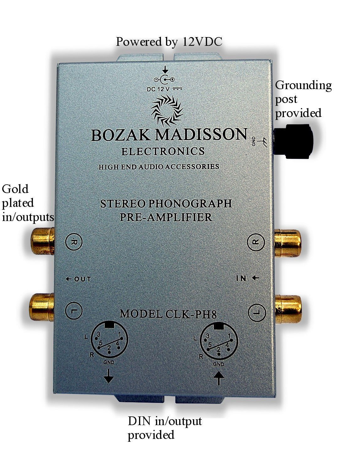 Bozak Madisson CLK-PH8 Phono Preamp Preamplifier Turntable Amplifier with DIN in/out by BOZAK MADISSON