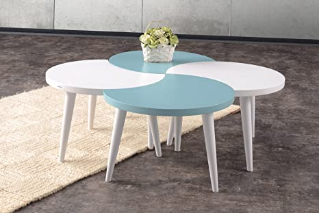 Mare Collection Electra Glossy Lacquer Coffee Table - Nesting Table | Sets | Service Stand | Living Room | Mesita Baja