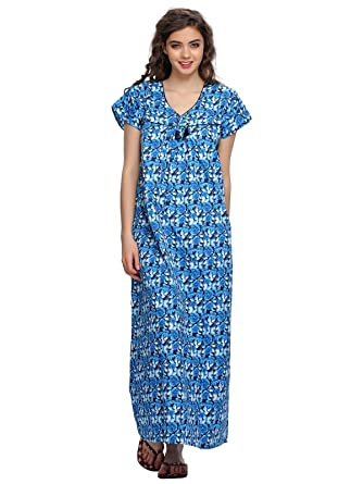 e228959462 Clovia Women s Floral Printed Long Nighty (NSS002P08 Blue Free Size ...