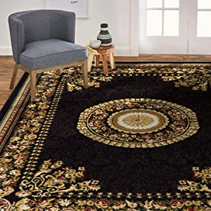 Home Dynamix Optimum 11023-450 Polypropylene 7-Feet 8-Inch by 10-Feet 4-Inch Area Rug, Black