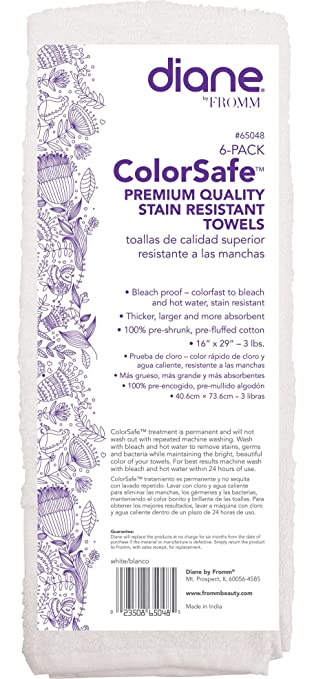 Amazon.com : Diane Fromm Color Safe Premium Quality Stain Resistant Towels 16 inch by 29 inch 6 pack White : Beauty