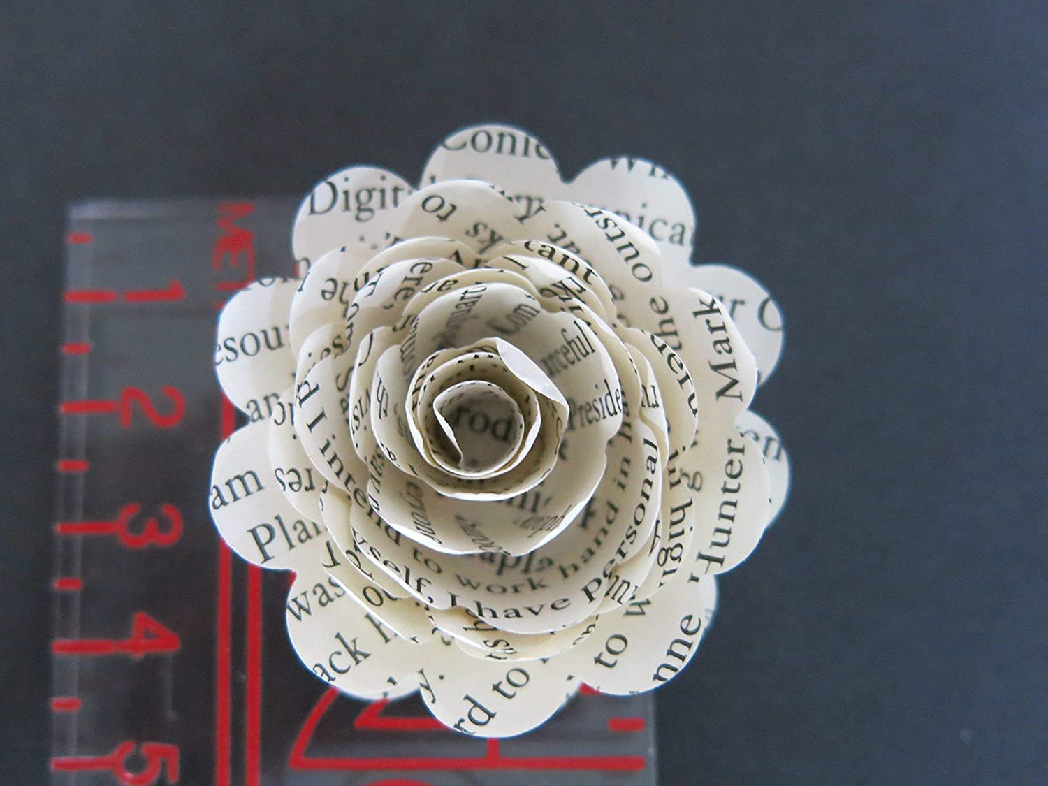 Scalloped Classic Book Page Roses On Stems Paper Flowers Bouquet