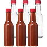 24 Pack - 5 Oz Empty Clear Glass Hot Sauce Bottles with Red Caps and Drip Dispensing Tops, By California Home Goods