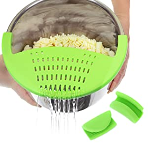 Salbree Silicone Snap Vegetable and Ground Beef Grease Strainer fits Instant Pot Accessories and Snaps to the 6 quart Instapot Pressure Cooker Inner Pan Small Mitts Set Included (6qt, green)
