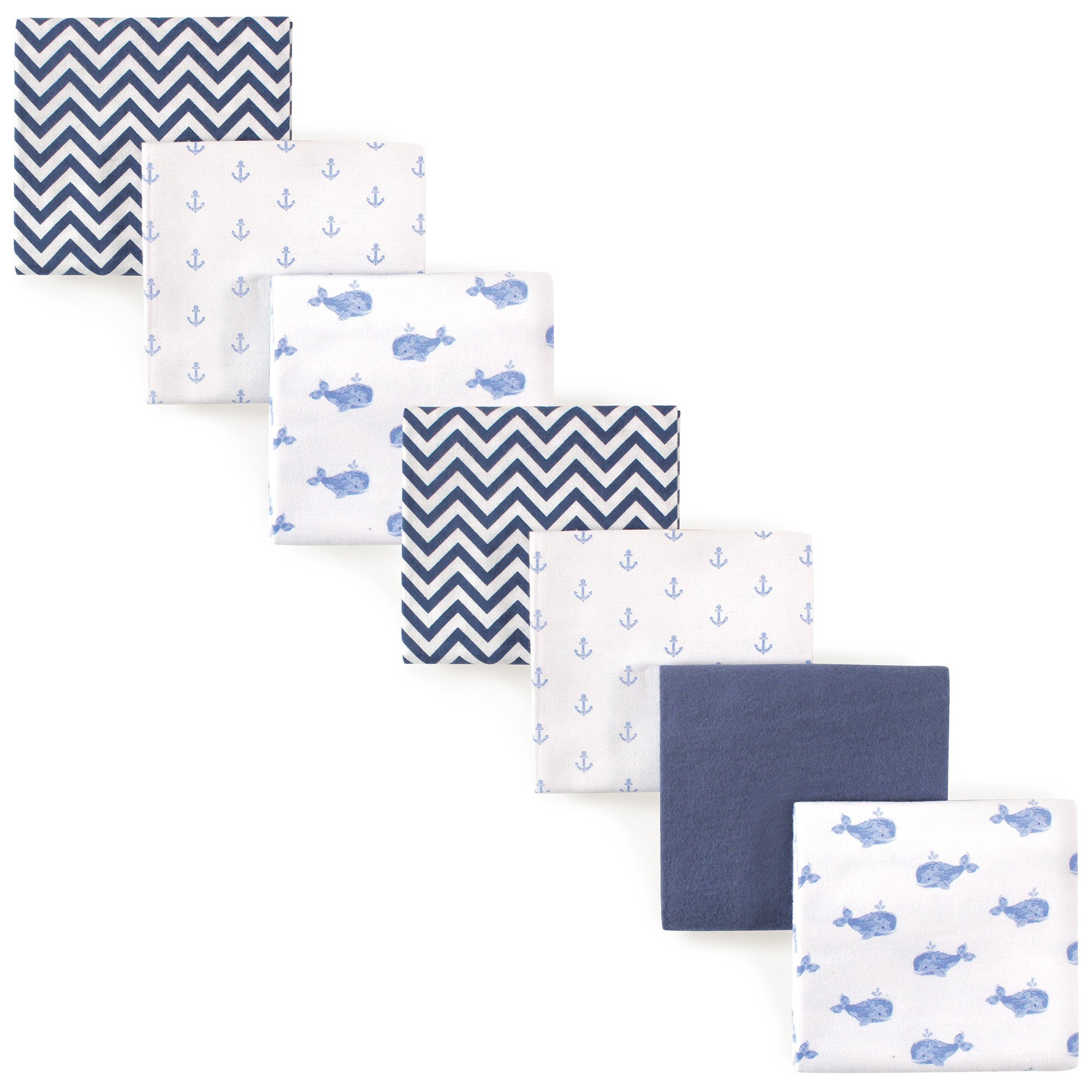 Hudson Baby Unisex Baby Cotton Flannel Receiving Blankets, 7-Pack, Blue Whale, One Size by Hudson Baby