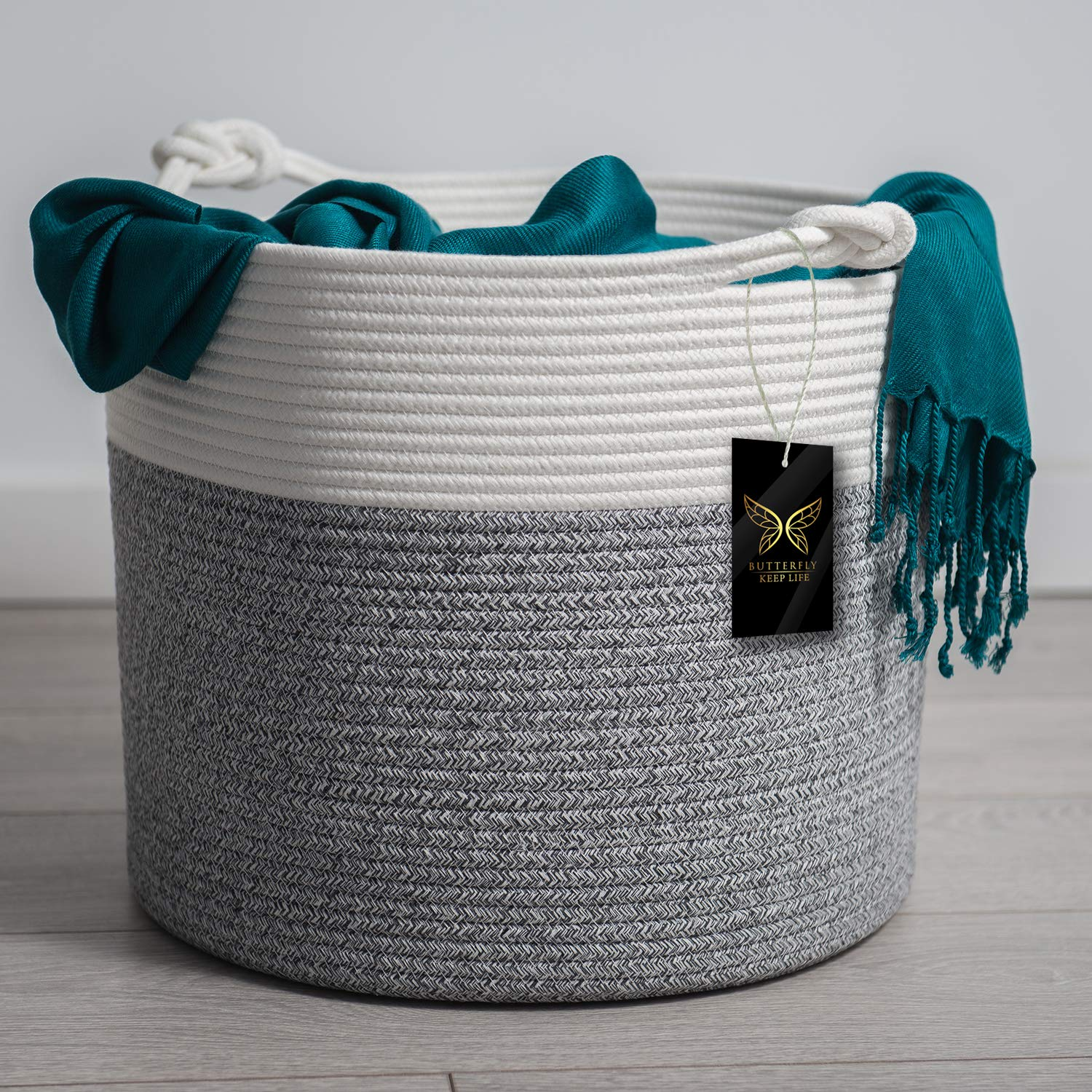 Large Cotton Rope Basket | Blanket Basket for Living Room | Woven Basket Use for Throw Pillow, Clothing, Toys Storage | Stylish Nursery Organizer | Baby Laundry Basket | Home Decor Addition