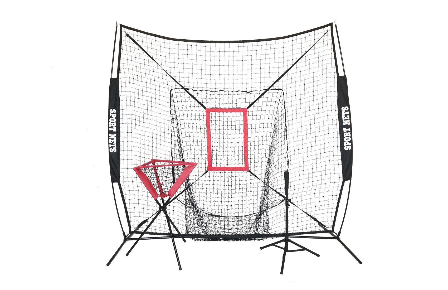 Sport Nets Portable Hitting Net with Travel Tee, Ball Caddy and Strike Zone (Black) by Sport Nets