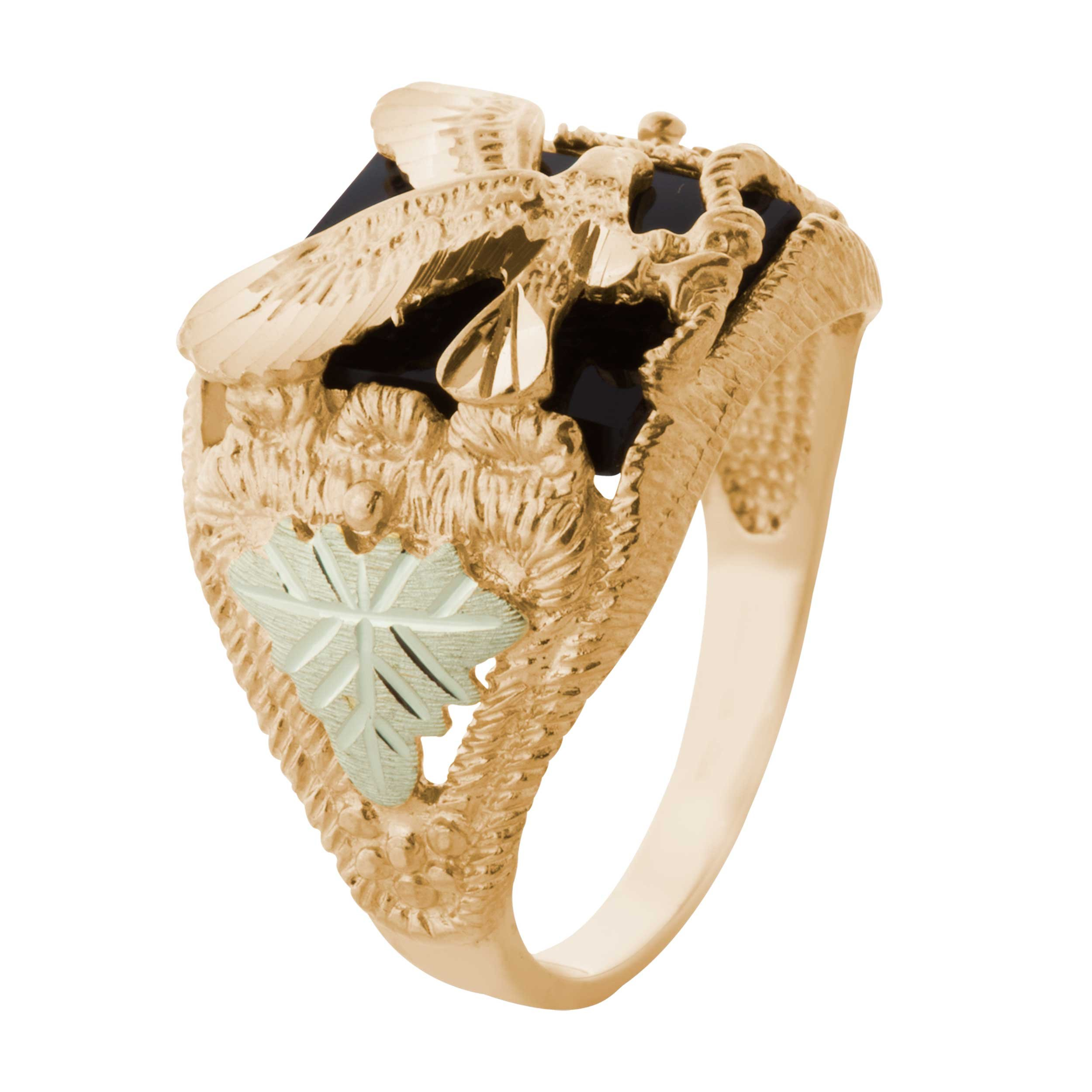 Men's Onyx Eagle Ring, 10k Yellow Gold, 12k Pink and Green Gold Black Hills Gold Motif, Size 14 by Black Hills Gold Jewelry (Image #2)