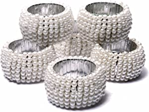 Pearl Beaded Napkin Rings Holder Dining White Table Décor for Wedding, Home, Events, Party, DIY Craft Supply