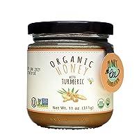 GREENBOW Organic Honey with Turmeric - 100% USDA Certified Organic, Gluten Free, Non-GMO Organic Turmeric Honey - Highest Quality Whole Food Organic Turmeric Honey – 11oz (311g)