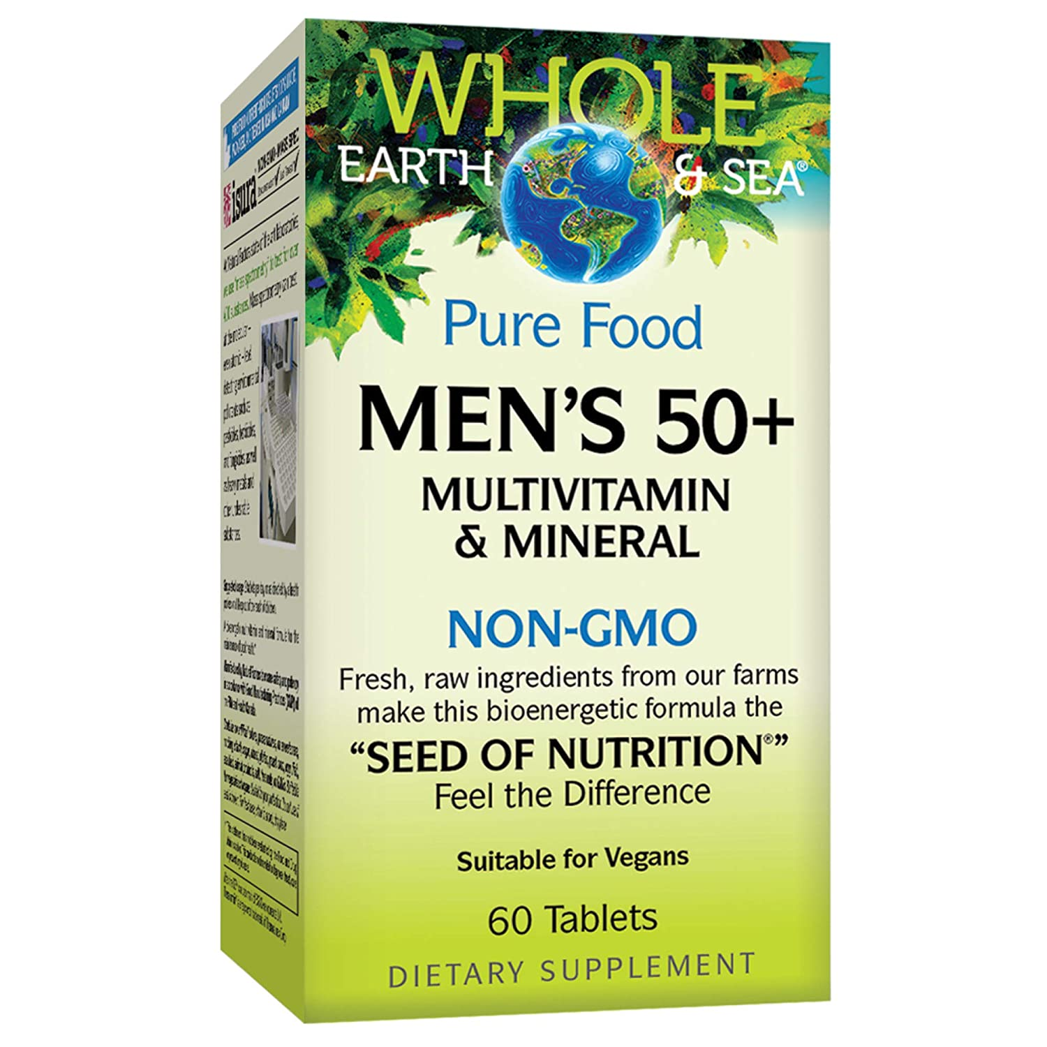 Whole Earth Sea from Natural Factors, Men s 50 Multivitamin Mineral, Whole Food Supplement, Vegan and Gluten Free, 60 Tablets 30 Servings