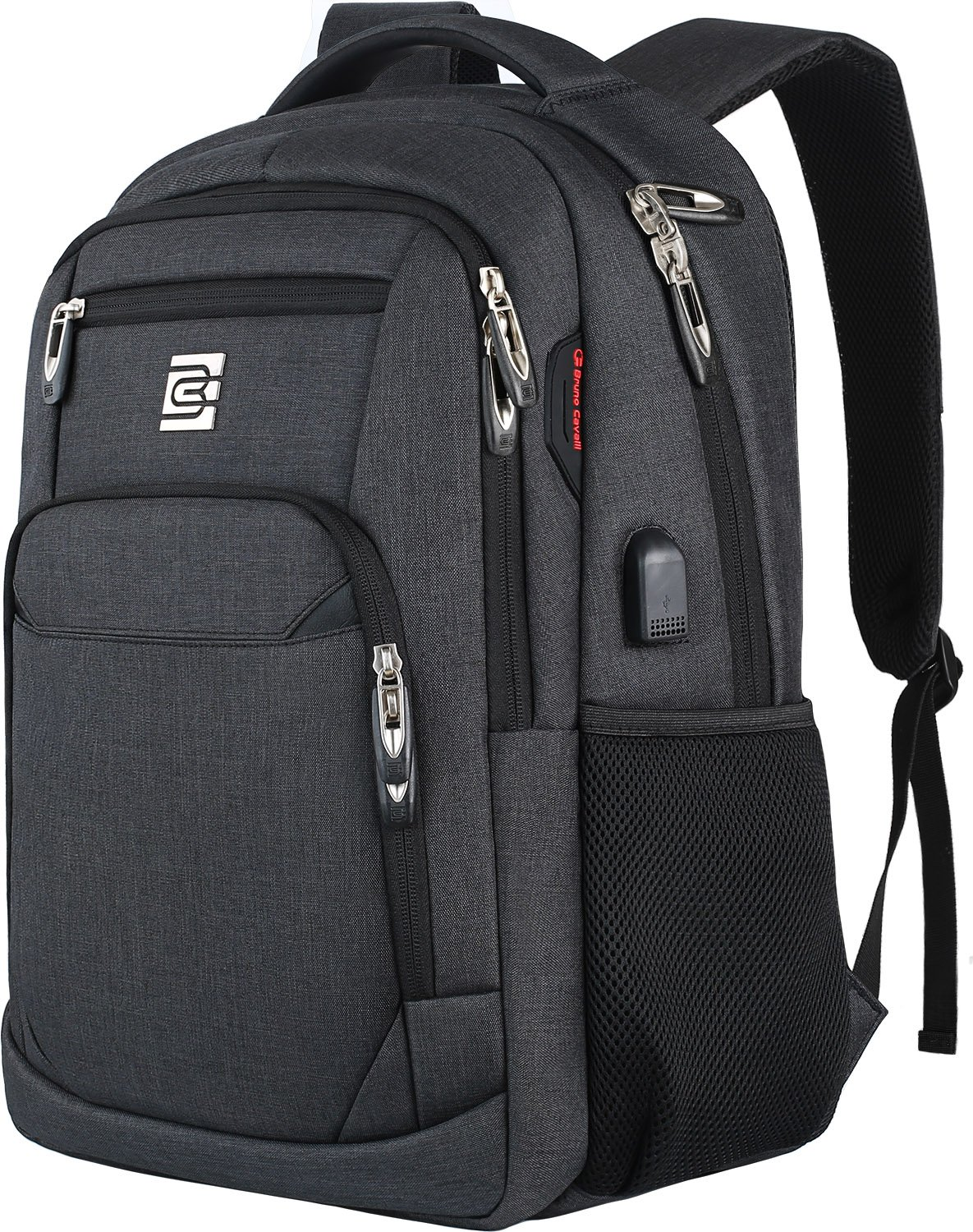 Laptop Backpack,Business Travel Anti Theft Slim Durable Laptops Backpack with USB Charging Port,Water Resistant College School Computer Bag for Women & Men Fits 15.6 Inch Laptop and Notebook - Black by Volher