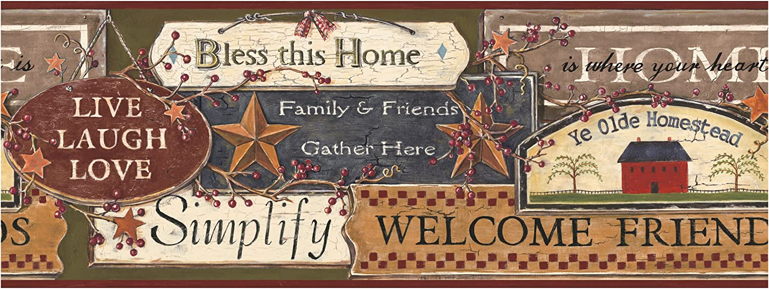 York Wallcoverings Best Of Country PC3976BD Country Sign Border, Green/Burgundy