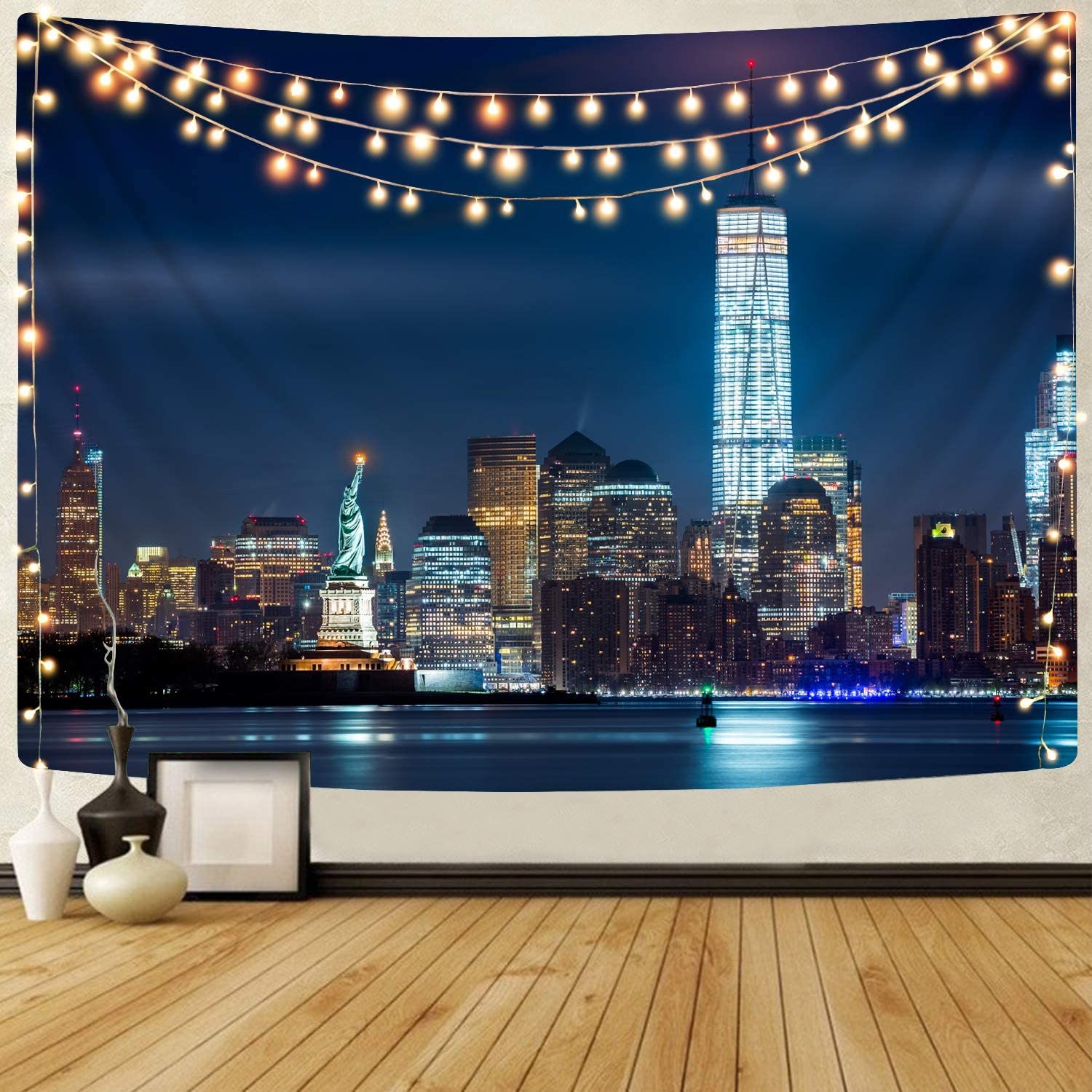 KYKU New York Tapestry Wall Hanging Decor City Tapestry for Bedroom Aesthetic Night Neon Landscape Art Living Room Wall College Dorm Room Cool Modern Posters (51.2