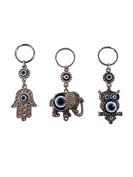 Llavero con amuleto turco azul de ojo malvado, mano de Fátima de Hamsa, elefante y búho, regalo para hombres o mujeres (juego de 3): Amazon.es: Oficina y ...