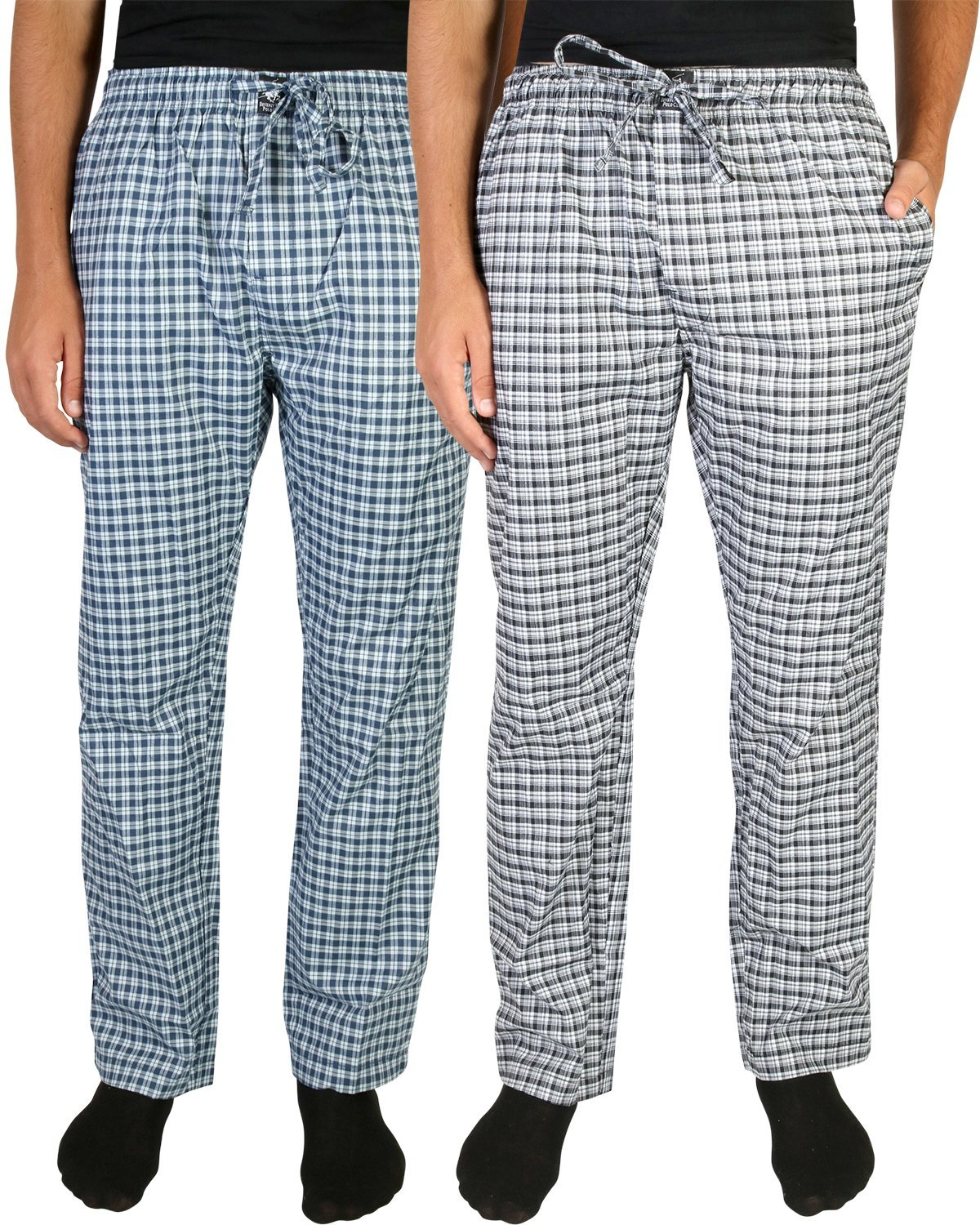 Beverly Hills Polo Club Men's Woven Plaid Sleep Lounge Pajama Pants (2-Pack), White & Navy/White & Blue, Medium (32-34)'