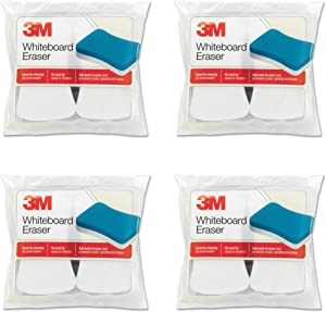 3M Whiteboard Eraser, 3 in H X 5 in W, White Yellow, for Use with Removes Permanent Marker, Pack of 2, 4 Packs