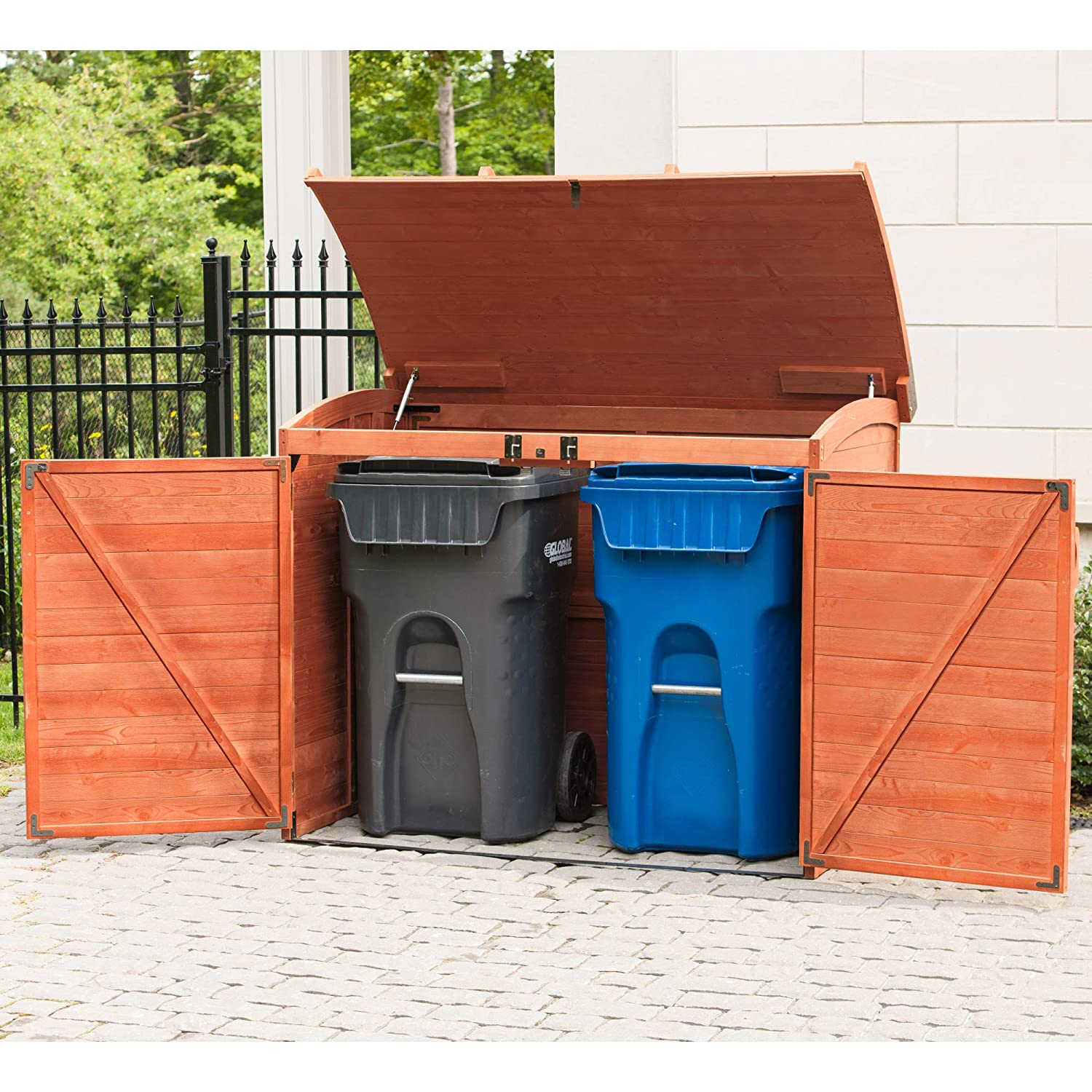 Amazon com leisure season horizontal refuse storage shed solid wood decay resistant trash shed garden outdoor