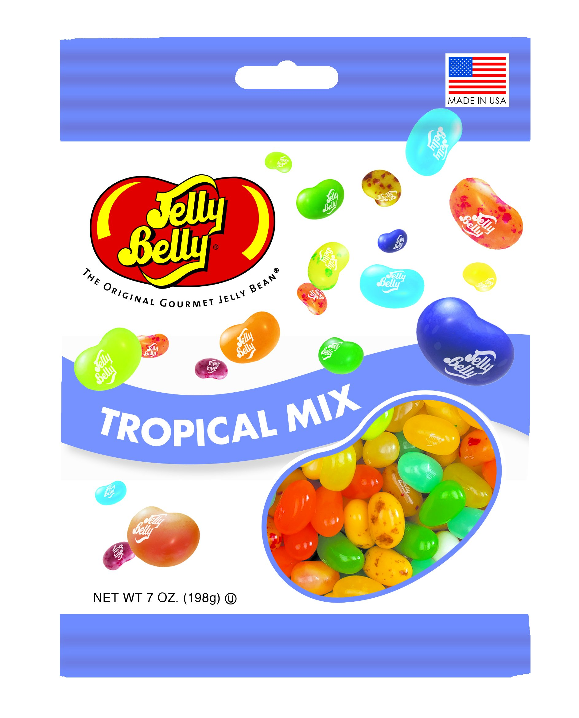 Jelly Belly Tropical Mix Jelly Beans, 16 Flavors, 7-oz, 12 Pack
