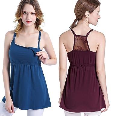 6a171a023 SUIEK Women s Nursing Tank Top Cami Maternity Bra Breastfeeding Shirts  (Small