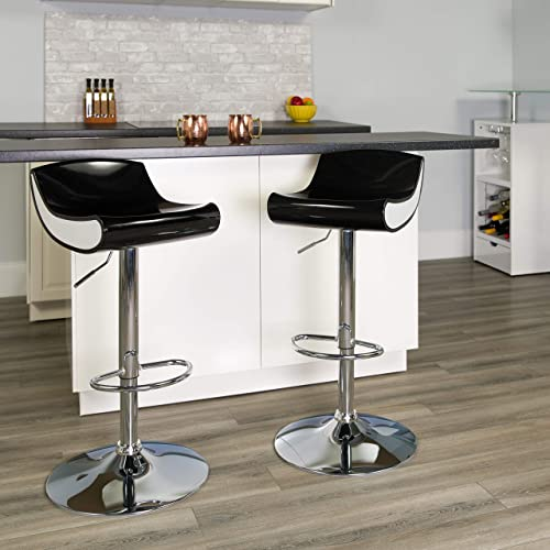Flash Furniture 2 Pk. Contemporary Black and White Adjustable Height Plastic Barstool with Chrome Base
