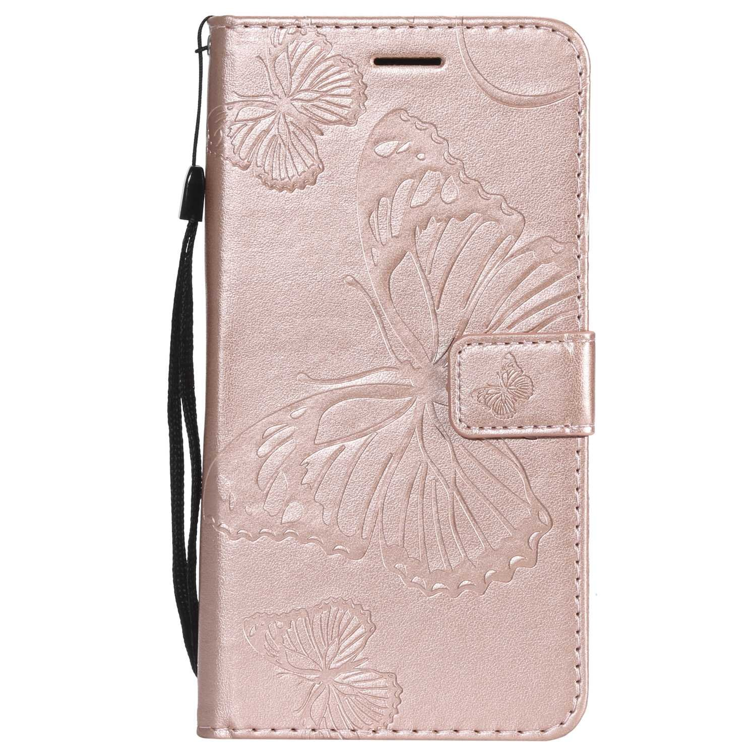 CUSKING Case for Samsung Galaxy J7 2016, Leather Flip Cover Magnetic Wallet Case with Butterfly Embossed Design, Case with Card Holders and Kickstand - Rose Gold